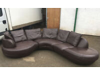DFS brown leather corner sofa DELIVERY AVAILALBE