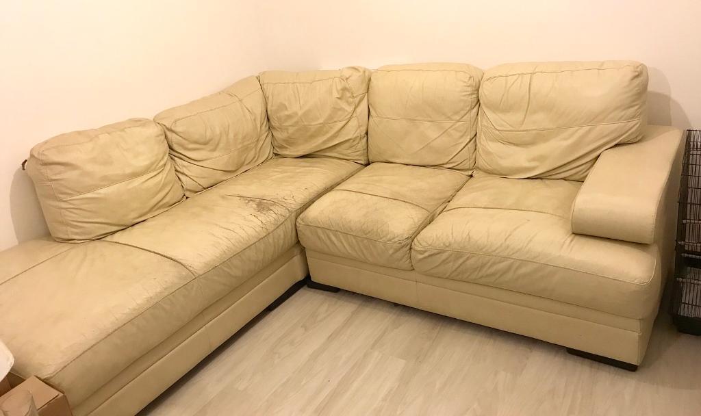 5 seater split corner leather sofa FREE