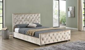 🌷💚🌷POPULAR CHOICE🌷💚🌷CHESTERFIELD CRUSHED VELVET BED FRAME SILVER, BLACK AND CREAM COLORS