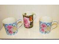 Mugs x3, Fine Bone China