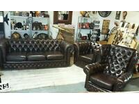 STUNNING REAL LEATHER CHESTERFIELD 3 PIECE SET !! BARGAIN !!!