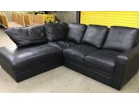Black leather L shape sofa •free delivery •