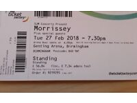 Morrissey Birmingham Standing Ticket 27th Feb TICKETS IN HAND