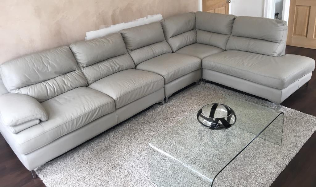 Pale Grey Soft Leather L Shape Sofa In Sale Manchester Gumtree