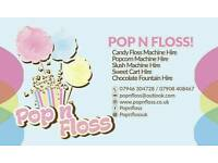 £100 1 hour/£130 2 hours/ £150 3 hours of unlimited Candy Floss & Popcorn hire/£130 Unlimited Slush!