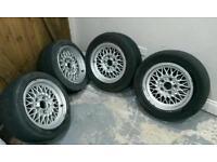 """BMW BBS 15"""" Alloy Wheels/Tyres - 5x120 - e38/e36/e46 etc"""