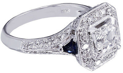 GIA H-VS2 18k White Gold Asscher Cut Diamond Engagement Deco Halo Ring 1.45ctw