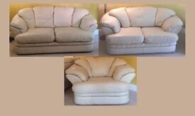 Cream Leather 3 seater, 2-seater sofas and matching chair