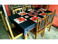 Solid wood Indian teak table and chairs