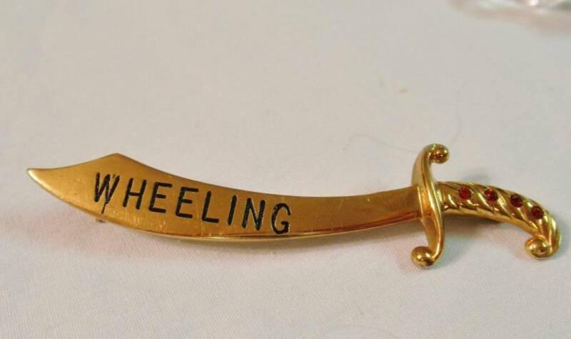 Gold-tone Cutlass Sword Pin w Red Rhinestone Hilt, Advertising Wheeling, W.V.