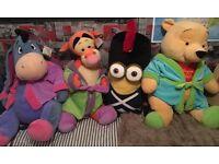 4 Genuine Disney toys - 3 x Winnie the Pooh toys & 1 x Minion