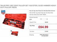 TM US PRO 13pc Dent Puller Set 10lb Steel Slide Hammer Heavy Duty Puller TM229