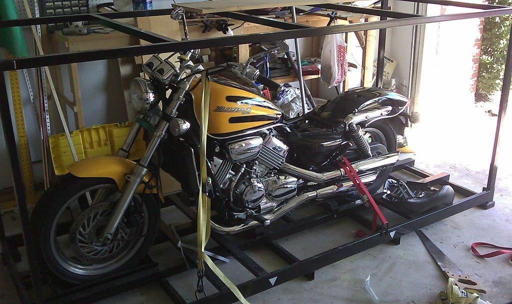 Sturdy metal motorcycle shipping crate and storage container in