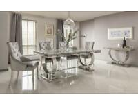 BRAND NEW ARIANNA LIGHT GREY MARBLE DINING TABLE + 4 KNOCKER BACK CHAIRS