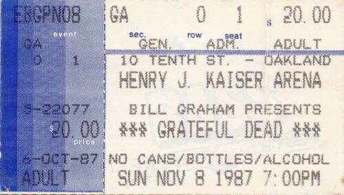 GRATEFUL DEAD TICKET STUB   11-08-1987  KAISER ARENA