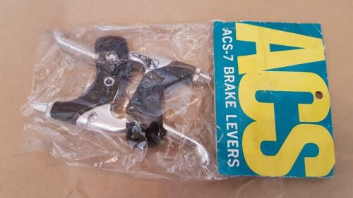 NOS BMX ACS 7 LEVERS PAIR SET BLACK AND SILVER NEW IN PACKET NIP