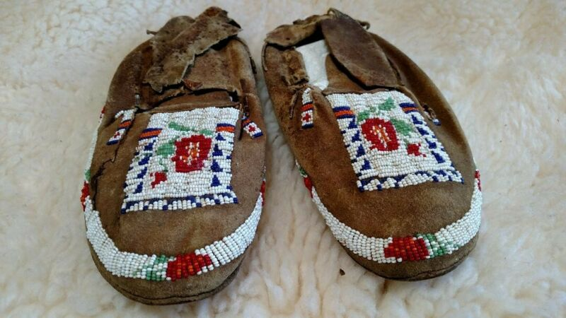 Antique Native American Indian Adult Beaded Moccasins FRAGILE Cheyenne