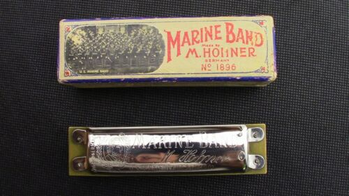 Hohner Marine Band Harmonica with Box Key of C Pre-War Mouse ears Harmonica