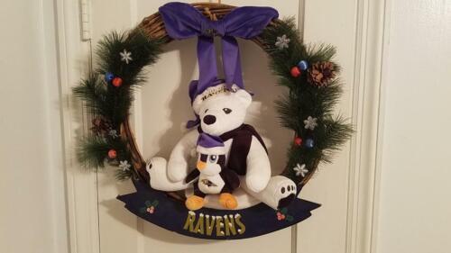 Baltimore Ravens NFL Christmas Wreath Bear and Penguin