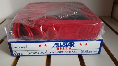 NEW All Star Baseball Softball Adjustable Elastic Belts Red-Dozen (12 belts!)