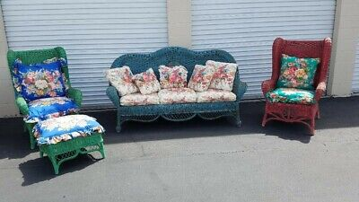 Ralph Lauren Polo Wicker Rattan Wing Chairs / Sofa / Ottoman 1980's Wicker Wing Chair