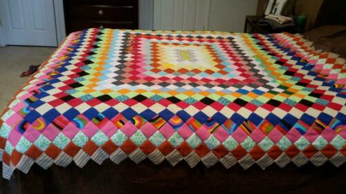 Vintage/Retro! Polyester  LARGE Quilt Top. Hand pieced, Brightly colored