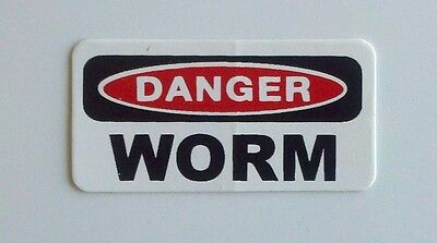 3 - Danger Worm Hardhat Rig Hard Hat Oilfield Oil Field Tool Box Helmet Sticker