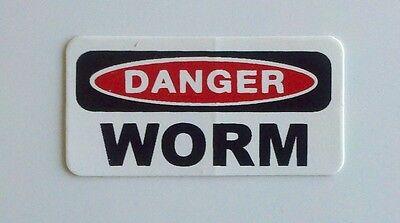 3 - Danger Worm Hardhat Rig Hard Hat Oilfield Oil Field Tool Box Helmet Sticker