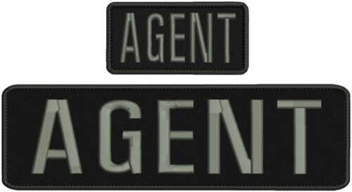 AGENT embroidery patches 3x10 and 2x4 hook on back grey letters