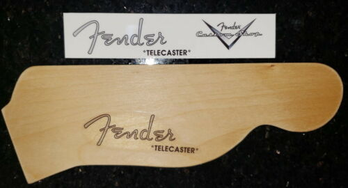 Telecaster spaghetti and custom shop headstock logo waterslide decal