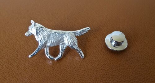 Medium Sterling Silver Siberian Husky Moving Lapel Pin