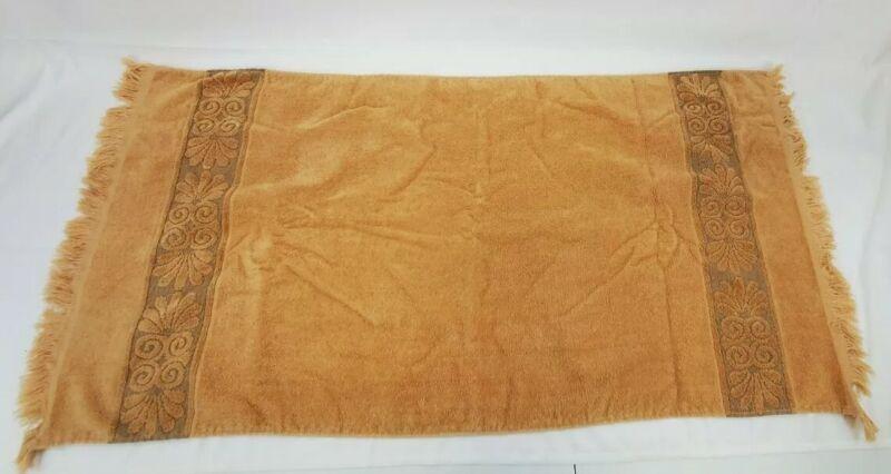 Vintage Cannon Monticello Tan Brown Fringe Sculpted Bath Towel