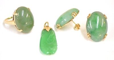 Group of 14K Gold & Jade Jewelry ( Ring, Pendant and Earrings)