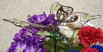 """Glowing Flower Pots (Garden Decor Flower Pot Plant Pick Stake Glow in Dark Butterfly NEW 22"""" tall)"""