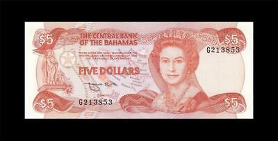 1974 (1984) BRITISH COLONY BAHAMAS QEII $5 (( aUNC ))