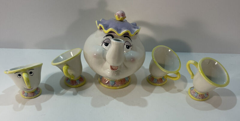 Disney Mrs. Potts and Chip Tea Set Beauty and The Beast  Vintage