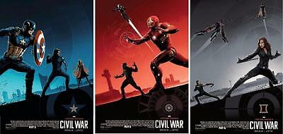 CAPTAIN AMERICA CIVIL WAR Set of 3 Original Promo Movie Posters IMAX AMC Marvel