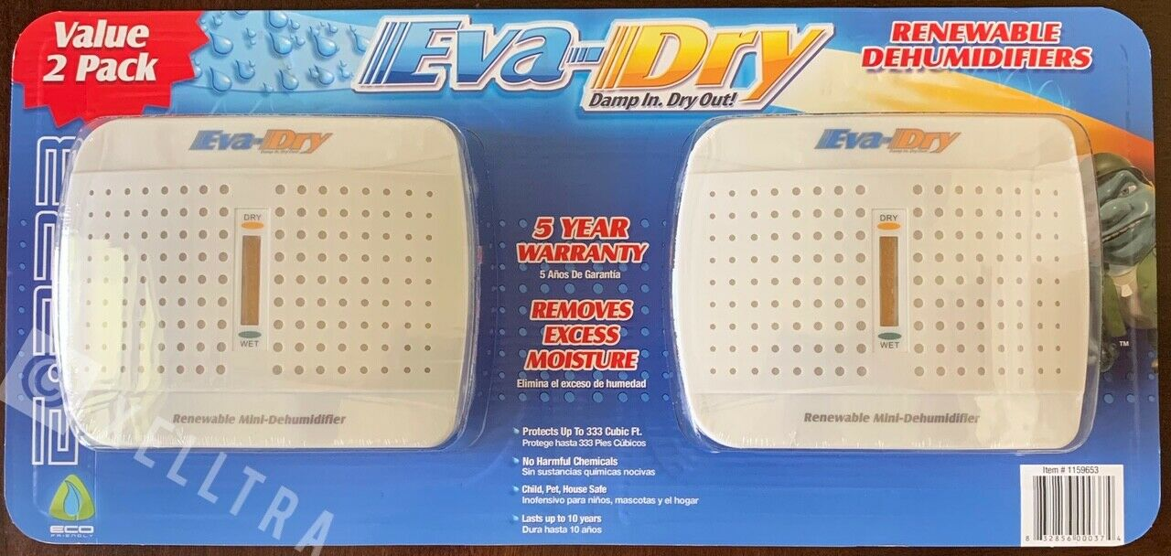 2 Pack Eva-Dry E-333 Renewable Mini Dehumidifier