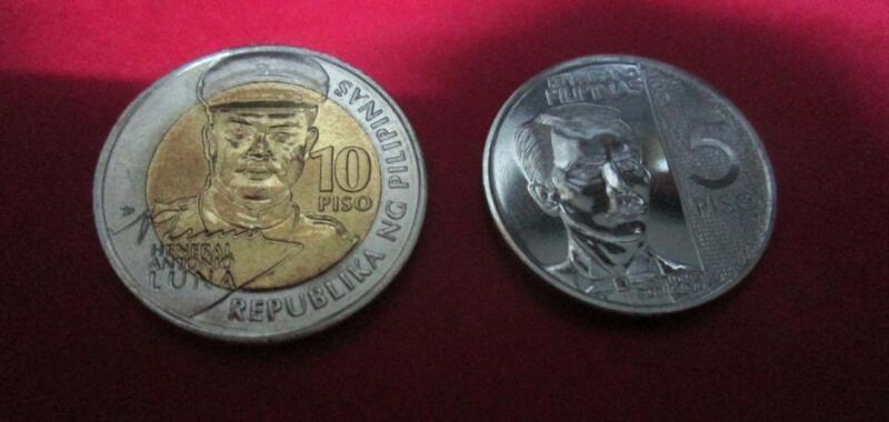 2017 Philippines set 2  5 piso coin Andres Bonifacio 10 piso Antonio Luna unc