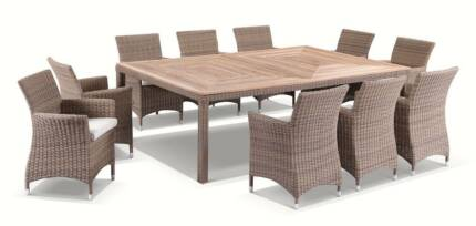Teak Timber PE Wicker Powder Coated Aluminum Outdoor Table Set Part 2