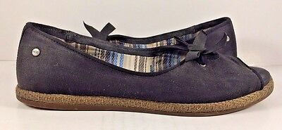 Ugg Black Canvas Peep Toe Espadrilles Bow Flats Womens Size US 6,5M for sale  Canada