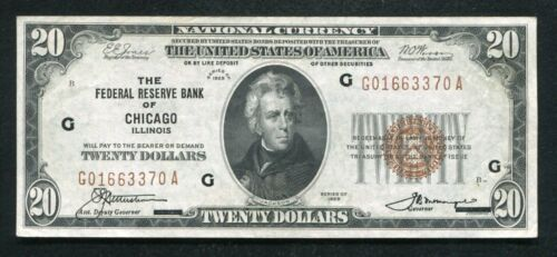 FR. 1870-G 1929 $20 FRBN FEDERAL RESERVE BANK NOTE CHICAGO, IL ABOUT UNC (B)
