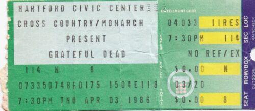 GRATEFUL DEAD TICKET STUB   04-04-1986  HARTFORD CIVIC CENTER