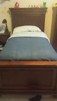 Twin Bed and night table - Solid Wood Hooker brand