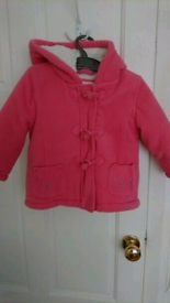 Bluezoo girls pink duffle coat - 12 to 18 months