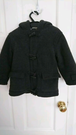 M&S boys grey duffle coat with matching mittens - 1.5 to 2 years.