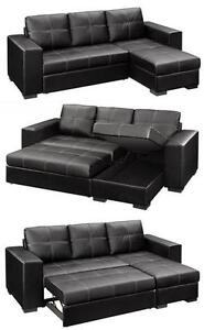 SALE ON NOW 2PC  BONDED LEATHER SECTIONAL WITH PULL OUT BED AND STORAGE