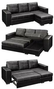 2PC  BONDED LEATHER SECTIONAL WITH PULL OUT BED AND STORAGE