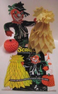 1960 Halloween (Old 1960s Halloween Beistle Scarecrow Centerpiece in Pkg Tissue Paper Fold)