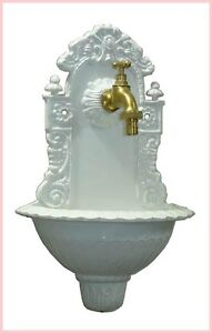 Gartenbrunnen Wandbrunnen Bassena Brunnen Weiss 207W mit Wasserhahn 1